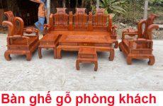 bàn ghế gỗ phòng khách tại Đông Anh